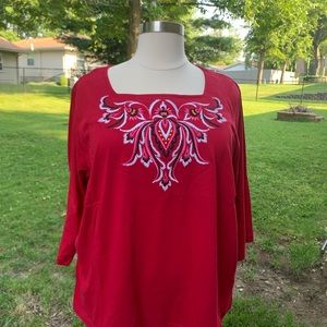 Bob Mackie Wearable Art 3X Red Embroidered Tunic